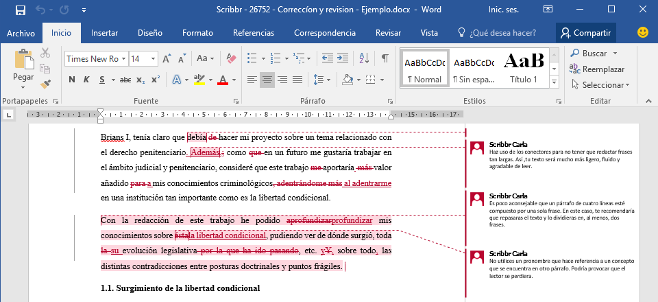 ejemplo correccion revision png example proof and edited thesis