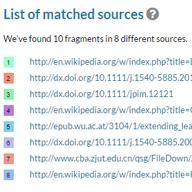 Lista de fontes correspondentes