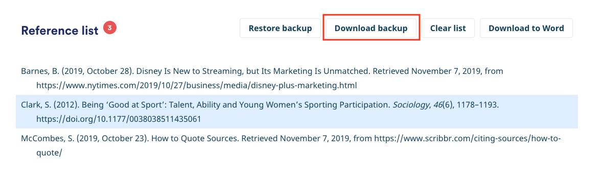 Download back-up Scribbr APA Generator