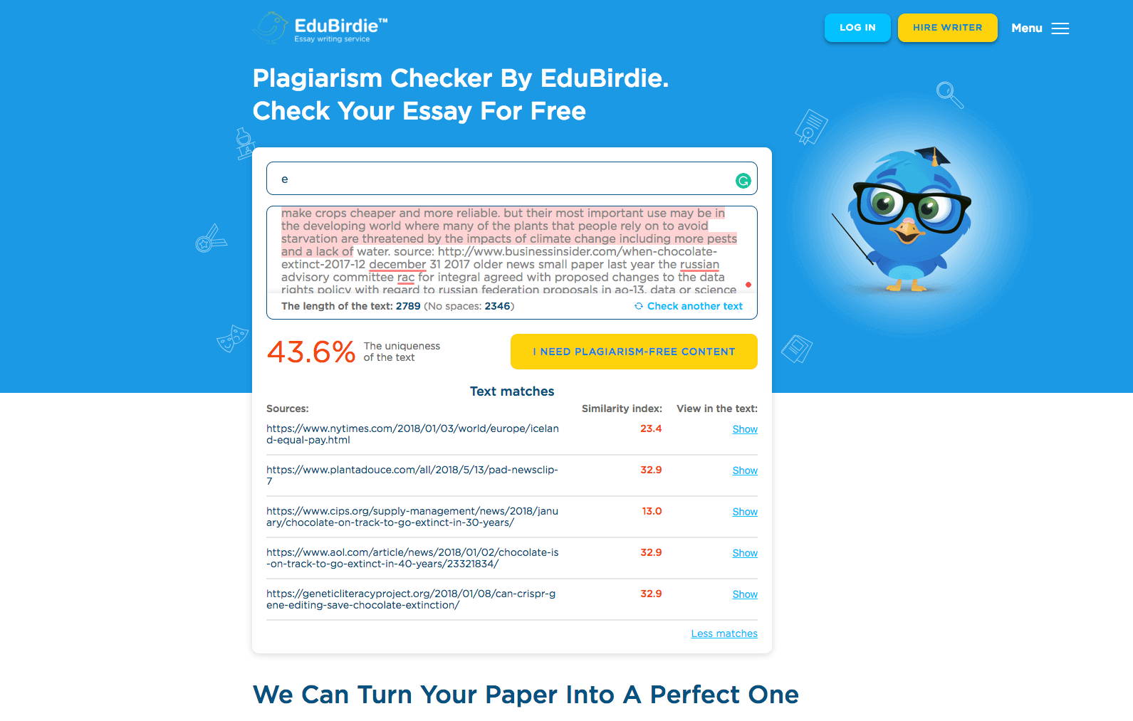 Edubirdie Plagiarism Checker report