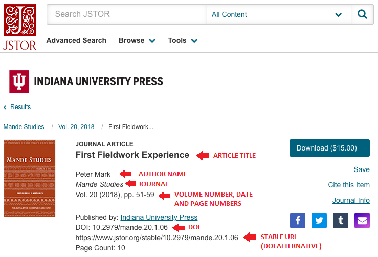 mla journal article citation