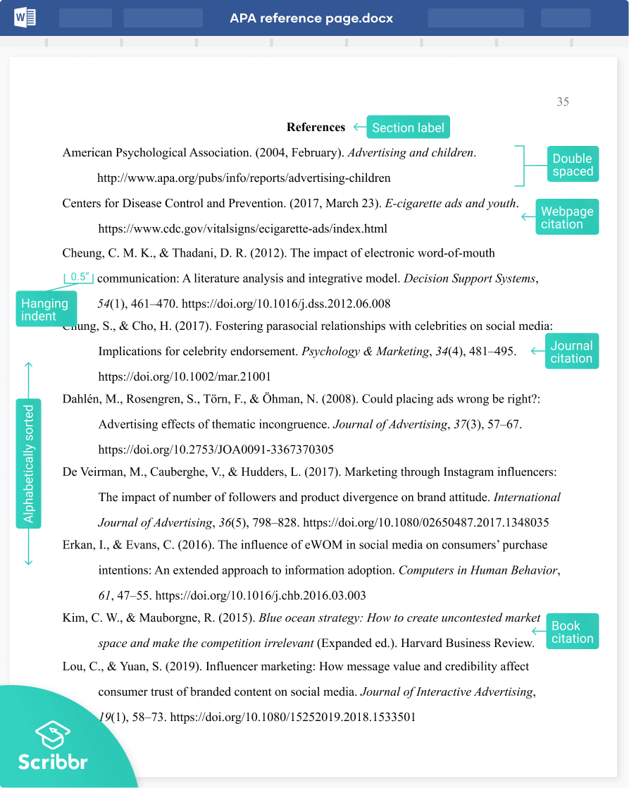 APA Reference Page (7th edition)